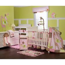 pink green girl baby nursery room decoration with pink jungle themed baby bedding including pleat pink light brown baby bed valance and lime green baby