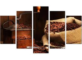 extra large brown coffee beans grinder kitchen canvas 5 panel 160cm 5062 on kitchen wall art canvas uk with extra large coffee beans canvas wall art 5 piece in brown