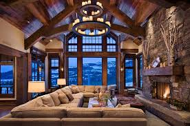 ... Chalet style living room has an imposing presence [Design: Locati  Architects]