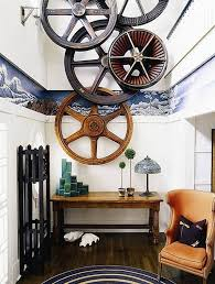 nautical inspired furniture. a striking display of worn shipu0027s wheels in this contemporary apartment have steampunk influences nautical inspired furniture i