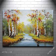 graceful waterside red and yellow birch trees landscape oil painting abstract techniques large acrylic paintings free shi in painting calligraphy from