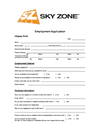 sky zone application fill printable fillable blank pdffiller