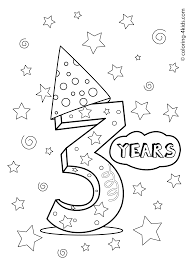 3 Years Birthday Coloring Pages For Kids Printables Coloring
