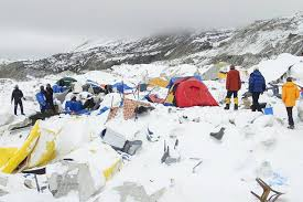 everest climbers recount avalanche horror wsj dozens of tents lie damaged after an avalanche plowed through mount everest base camp in
