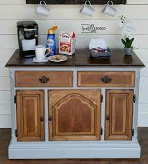 This coffee bar uses a small buffet as its base, which contains functional drawers for storage. Coffee Station Repurposed Buffet My Repurposed Life Rescue Re Imagine Repeat