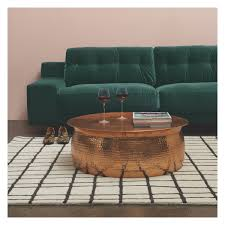 Coffee Table Orrico Rose Gold Hammered Aluminium Coffee Table Buy Now At
