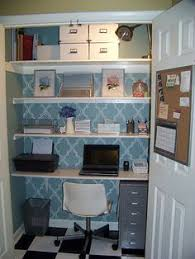 Home office in closet Secret Stenciled Cloffice Home Office Closet Closet Nook Office Nook Home Office Space Pinterest 50 Best Cloffice turn Closet Into An Office Images Desk