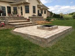 Floor Concrete Patio With Square Fire Pit Fresh Throughout Floor