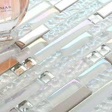 tst glass metal tile iridescent white glass silver mirror stainless steel blends interlocking tstnb01