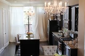 pretty kitchen with chandelier