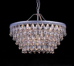 kassandra 6 light sparkle crystal teardrop bead matte silver chandelier 16 5 hx20
