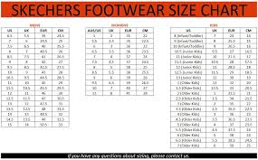 Skechers Shoe Size Chart Inches 2019