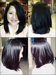 Best Brush For Bob Hairstyles Long Layered A Line Bob With Side Bang All Angle View Blow