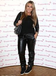 doing a west lauren goodger wore leather jogging pants at super s 50th birthday on wednesday