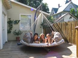 Joyous Big Round Porch Swing With Stand From Metal On Small Deck Inside  Round Outdoor Hammock Bed