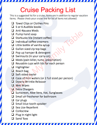 Cruise Packing List Packing Tips For A Cruise Around My Family Table