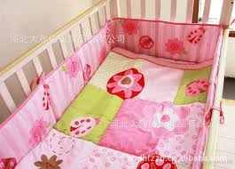 Pink Baby Girl Bedding Sets Embroidery Floral Insects Crib Set 100 Cotton Comfortable