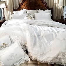 french style white romantic lace edge luxury princess egyptian cotton bedding set duvet cover bed linen bed sheet pillowcases silk bedding sets custom duvet
