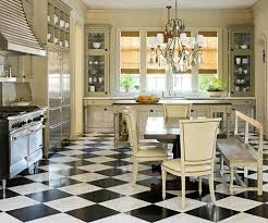 rustic vintage, classic French kitchen with black and white diamond tiles