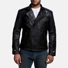 mens raiden black leather biker jacket 1