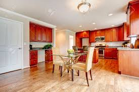 Cherry Wood Kitchen Table Sets Hardwood Floor Big Kitchen Room With Cherry Wood Cabinets And