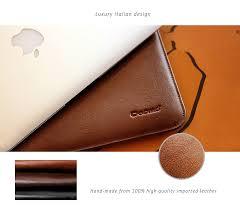 elegant simple cut stylish dopmp design genuine leather protective sleeve for your treasured macbook