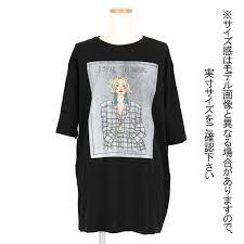 女の子のイラストボックスプリントがオシャレなビッグシルエット半袖tシャツ 原宿系 ファッション