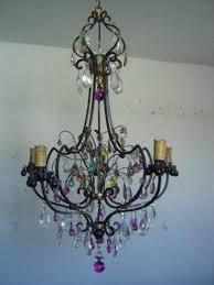 large antique cast iron crystal chandelier 5 lights