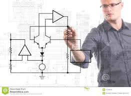 Draw Electric Circuit Electrical Engineer Drawing Circuit Diagram Royalty Stock