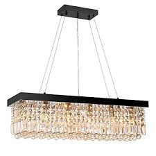 7pm w40 x d10 modern rain drop rectangle clear k9 crystal chandelier pendant lamp lighting fixture