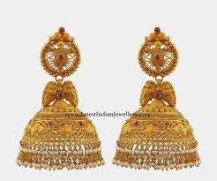 Gold Jhumka Designs For Bridal Spell Bounding Designer Gold Jhumkas Gold Earrings Designs