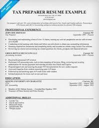 tax preparer resume sample