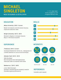 Web Designer Resume Unique Teal And Yellow Web Designer Infographic Resume Templates By Canva