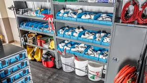 a plumbing van upfitted for easy organization