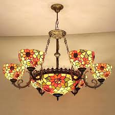 style ceiling lamp beautiful 9 light stained glass shade chandelier shades tiffany fans with lights fan style ceiling fan