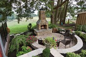 excellent rustic patio design with masonry fire rock outdoor fireplace with stone paving block