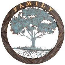 The most common wood tree wall decor material is wood & hardboard. 34x34 Family Tree Metal With Wood Circle At Home