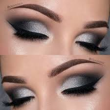 description dramatic black and silver prom eye makeup look