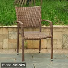 Outdoor PE Wicker Stackable Arm Club Chairs Set of 4 by