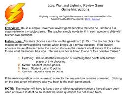 Love, War, and Lightning Review Game Game Instructions Originally created  by the English Department at the Universidad de Sierra Sur Adapted/modified  for. - ppt download