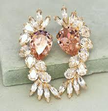 bridal crystal earrings blush pink chandelier earrings swarovski crystal blush earrings bridal pink earrings swarovski statement earrings