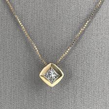 yellow gold princess cut diamond pendant