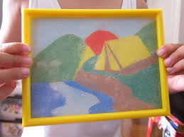 shine kids crafts colored sand picture with frame