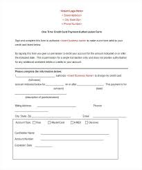 One Time Credit Card Payment Authorization Form Word Doc Report