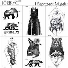 Ioridyo черный лесной волк временные наклейки татуировки для мужчин