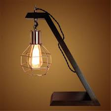 retro wood table lamp e27 edison industrial style night light creative home decoration wooden