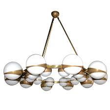 round globe chandelier with white glass on brass frame 1stdibs com