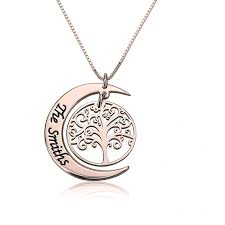 details about moon necklace personalized family tree of life crescent name rose gold plated
