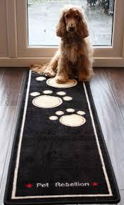 pet rebellion barrier rug dog runner black