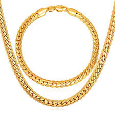 thick gold chain 6mm wide hip hop jewelry set for men 18k gold plated link bracelet
